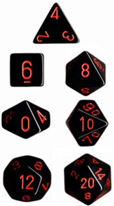 Black w/red Opaque Dice Set  4/6/8/10/10s/12/20 - 7 Dice