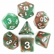 (Red + Green) Galaxy dice set  4/6/8/10/10s/12/20 - 7 DiceGreen Transluent Glitter Dice Set