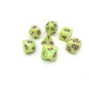 (Green+Yellow+White) Marble dice set 4/6/8/10/10s/12/20 - 7 DiceGreen Transluent Glitter Dice Set