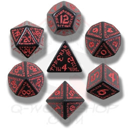 Black and Red Runic Dice Set (7 dice)