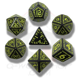 Black and Yellow Runic Dice Set  (7 dice)