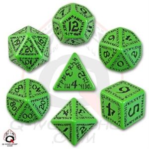 Green and Black Runic Dice Set (7 dice)